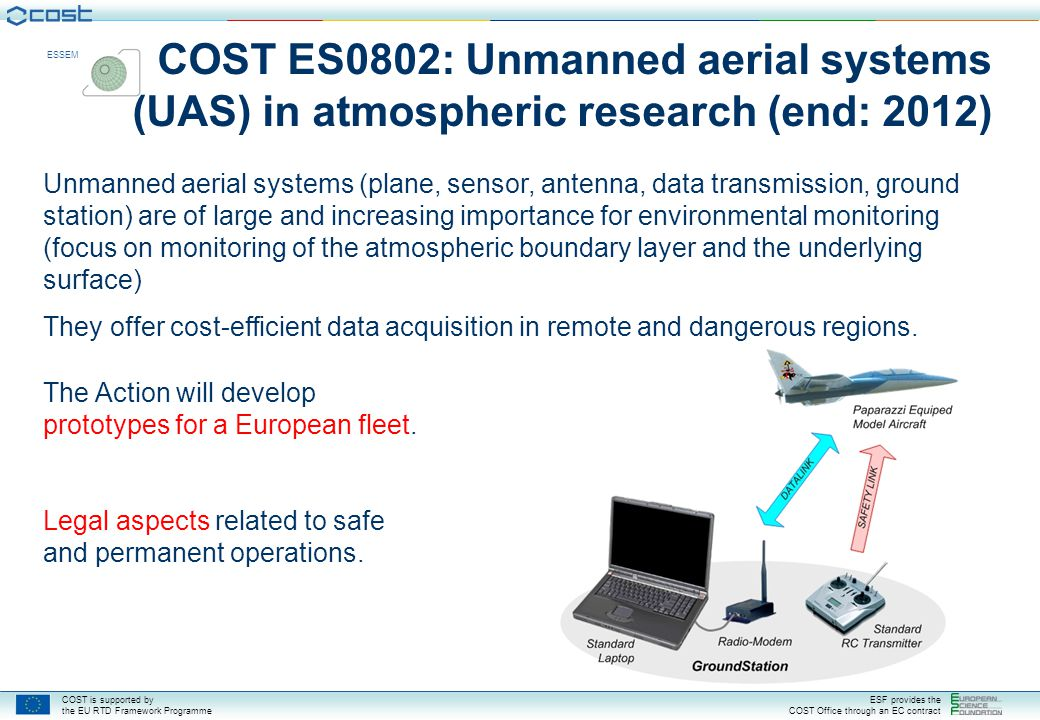 COST is supported by the EU RTD Framework Programme ESF provides the COST Office through an EC contract ESSEM COST ES0802: Unmanned aerial systems (UA
