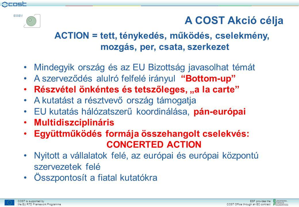 COST is supported by the EU RTD Framework Programme ESF provides the COST Office through an EC contract ESSEM  27 EU Tagállam  EFTA TagokMember States  Ízland  Norvégia  Svájc  Csatlakozott és együttműködő országok  Horvátország  Csatlakozott és együttműködő országok  Horvátország  Makedónia (FYROM)  Törökország  Lehetséges Tagjelölt  Bosznia és Hercegovina  Szerbia  COST Együttműködő ország  Izrael 36 COST Ország