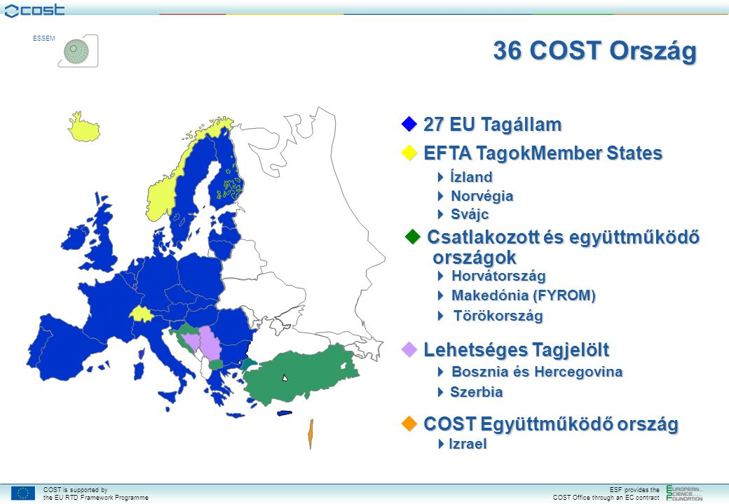 COST is supported by the EU RTD Framework Programme ESF provides the COST Office through an EC contract ESSEM  27 EU Tagállam  EFTA TagokMember Stat