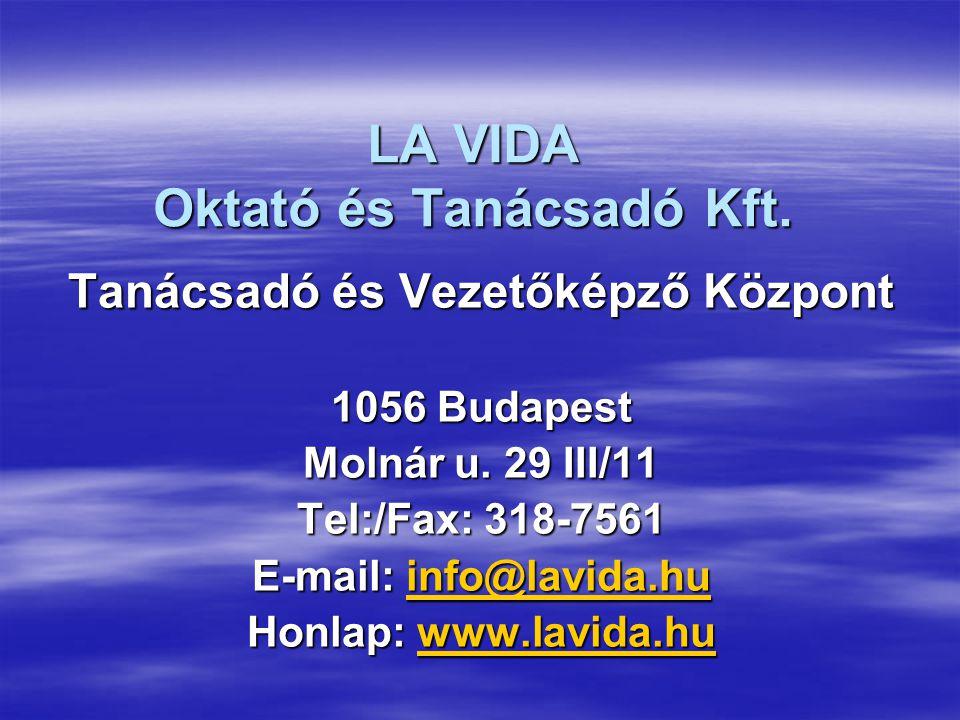 LA VIDA Oktató és Tanácsadó Kft. Tanácsadó és Vezetőképző Központ 1056 Budapest Molnár u. 29 III/11 Tel:/Fax: 318-7561 E-mail: info@lavida.hu info@lav