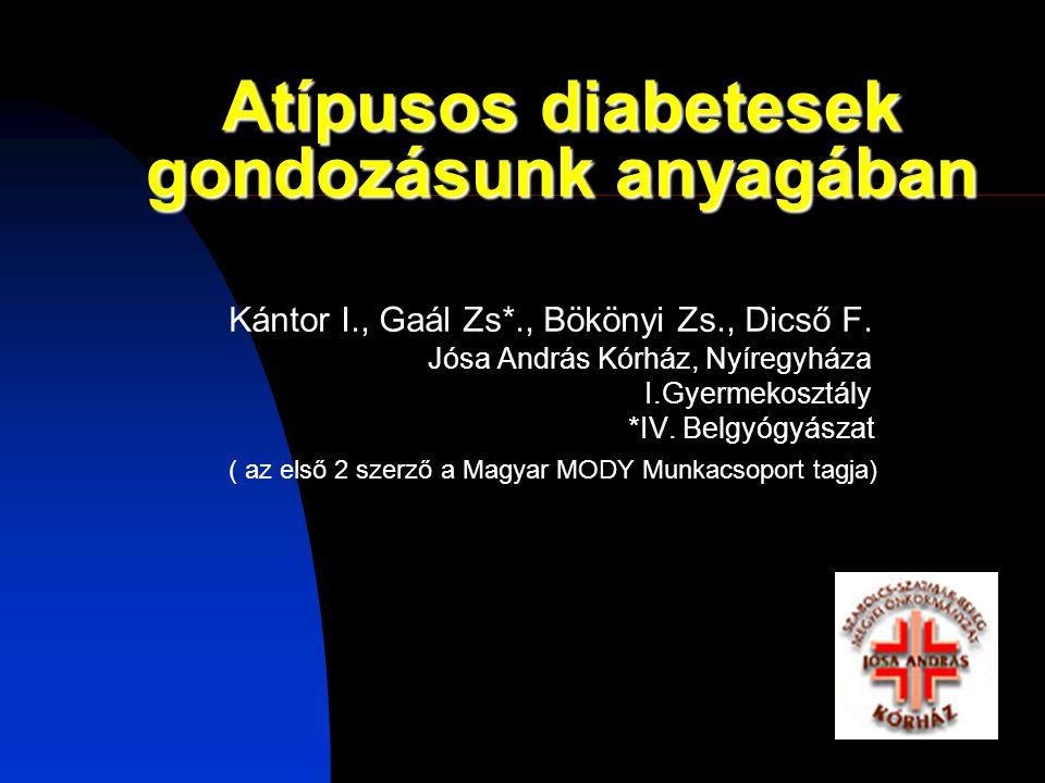Atípusos diabetesek gondozásunk anyagában Kántor I., Gaál Zs*., Bökönyi Zs., Dicső F.