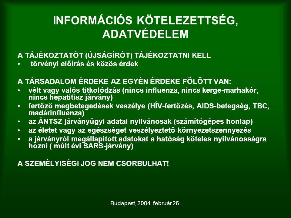 Budapest, 2004. február 26. INFORMÁCIÓS KÖTELEZETTSÉG, ADATVÉDELEM A TÁJÉKOZTATÓT (ÚJSÁGÍRÓT) TÁJÉKOZTATNI KELL törvényi előírás és közös érdek A TÁRS