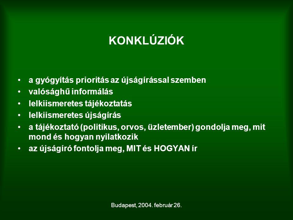 Budapest, 2004. február 26. KONKLÚZIÓK a gyógyítás prioritás az újságírással szemben valósághű informálás lelkiismeretes tájékoztatás lelkiismeretes ú