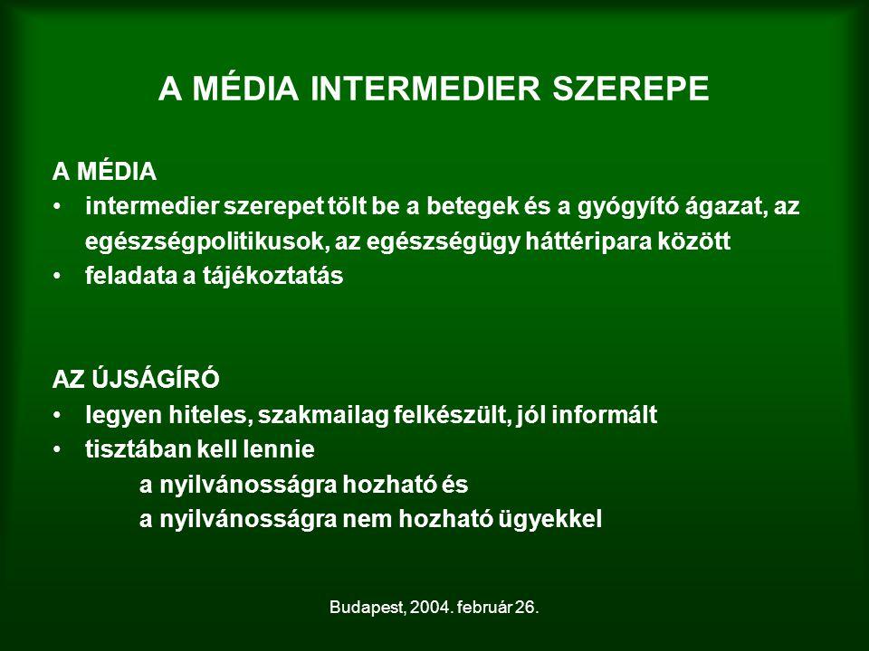 Budapest, 2004. február 26. A MÉDIA INTERMEDIER SZEREPE A MÉDIA intermedier szerepet tölt be a betegek és a gyógyító ágazat, az egészségpolitikusok, a