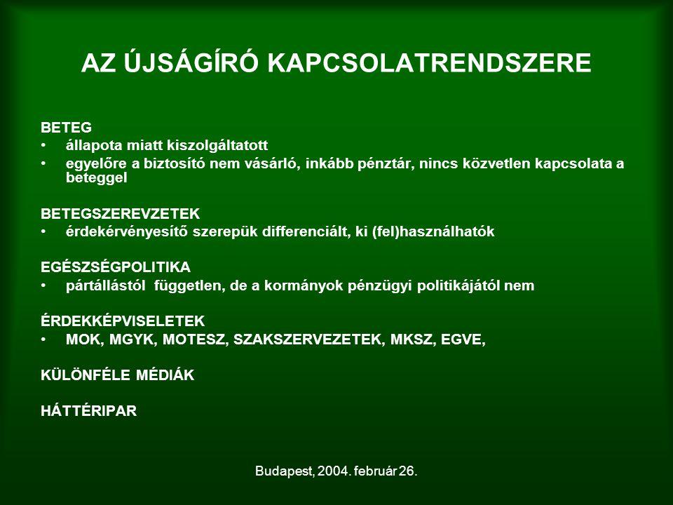 Budapest, 2004. február 26. AZ ÚJSÁGÍRÓ KAPCSOLATRENDSZERE BETEG állapota miatt kiszolgáltatott egyelőre a biztosító nem vásárló, inkább pénztár, ninc