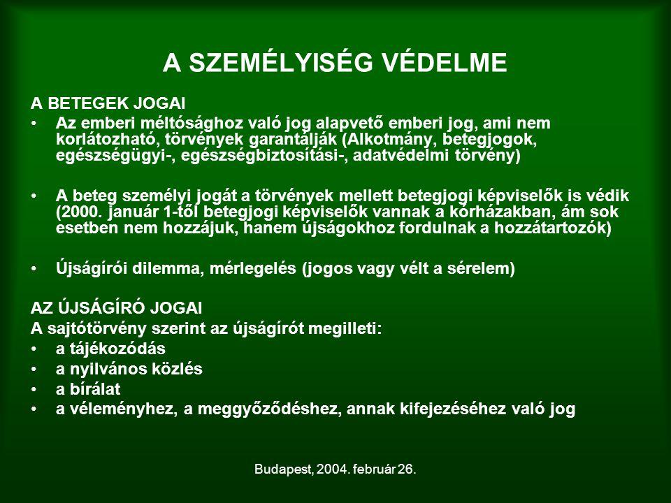 Budapest, 2004. február 26. A SZEMÉLYISÉG VÉDELME A BETEGEK JOGAI Az emberi méltósághoz való jog alapvető emberi jog, ami nem korlátozható, törvények