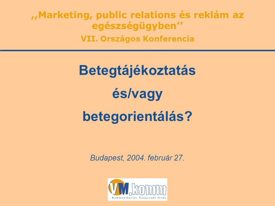 Budapest, 2004. február 27. Betegtájékoztatás és/vagy betegorientálás?,,Marketing, public relations és reklám az egészségügyben'' VII. Országos Konfer