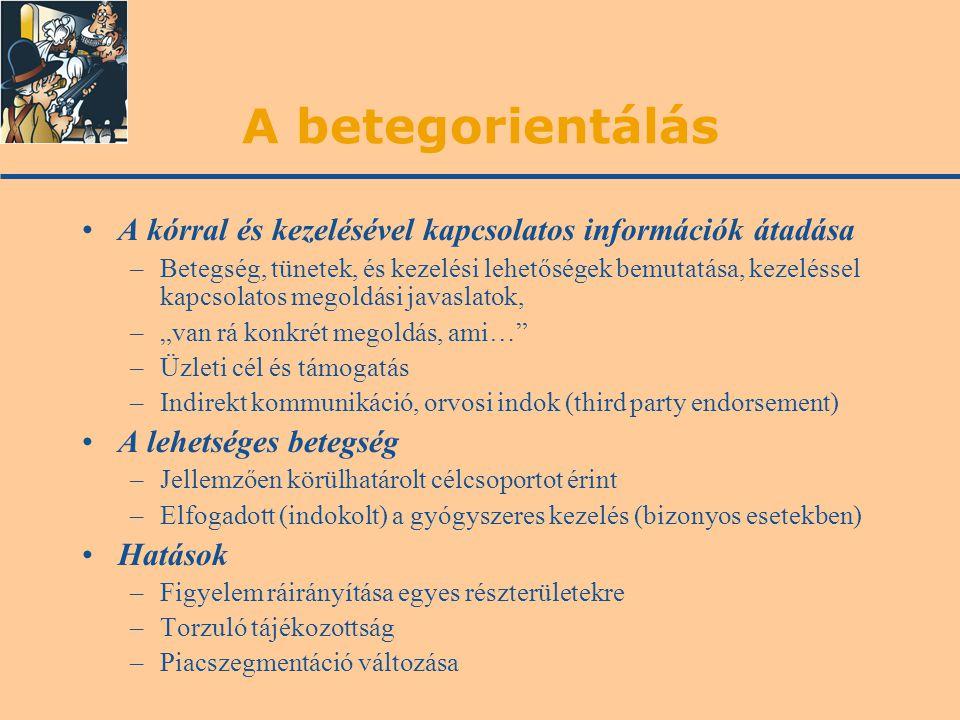 A betegorientálás A kórral és kezelésével kapcsolatos információk átadása –Betegség, tünetek, és kezelési lehetőségek bemutatása, kezeléssel kapcsolat