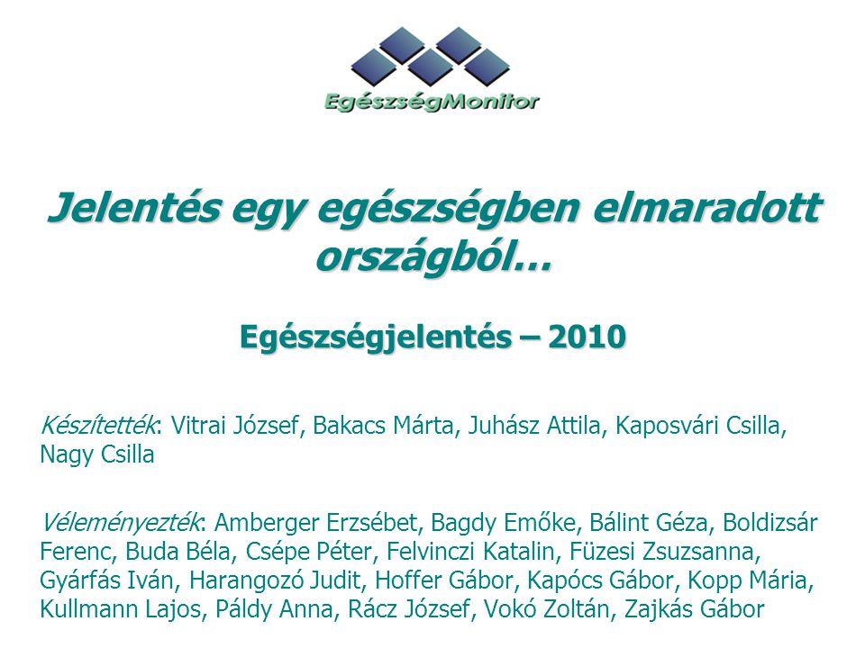 Jelentés egy egészségben elmaradott országból… Egészségjelentés – 2010 Készítették: Vitrai József, Bakacs Márta, Juhász Attila, Kaposvári Csilla, Nagy