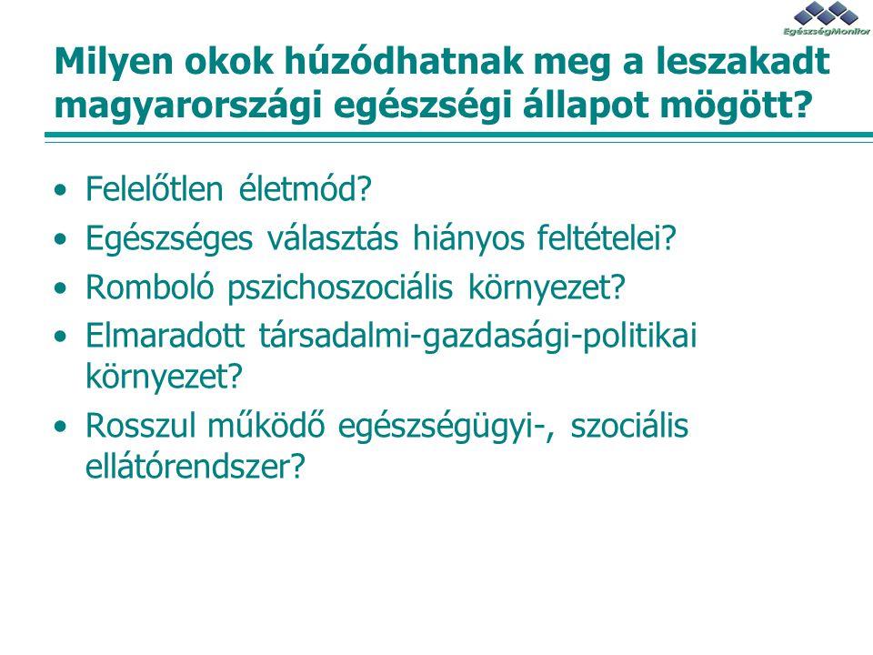 Milyen okok húzódhatnak meg a leszakadt magyarországi egészségi állapot mögött? Felelőtlen életmód? Egészséges választás hiányos feltételei? Romboló p
