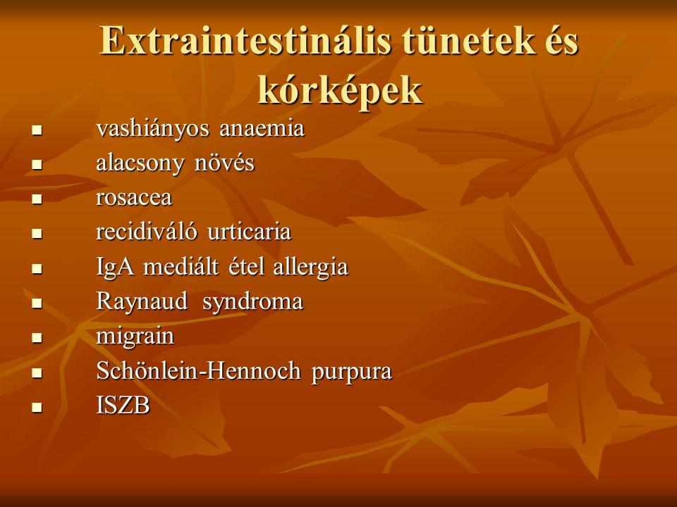 Extraintestinális tünetek és kórképek vashiányos anaemia vashiányos anaemia alacsony növés alacsony növés rosacea rosacea recidiváló urticaria recidiv