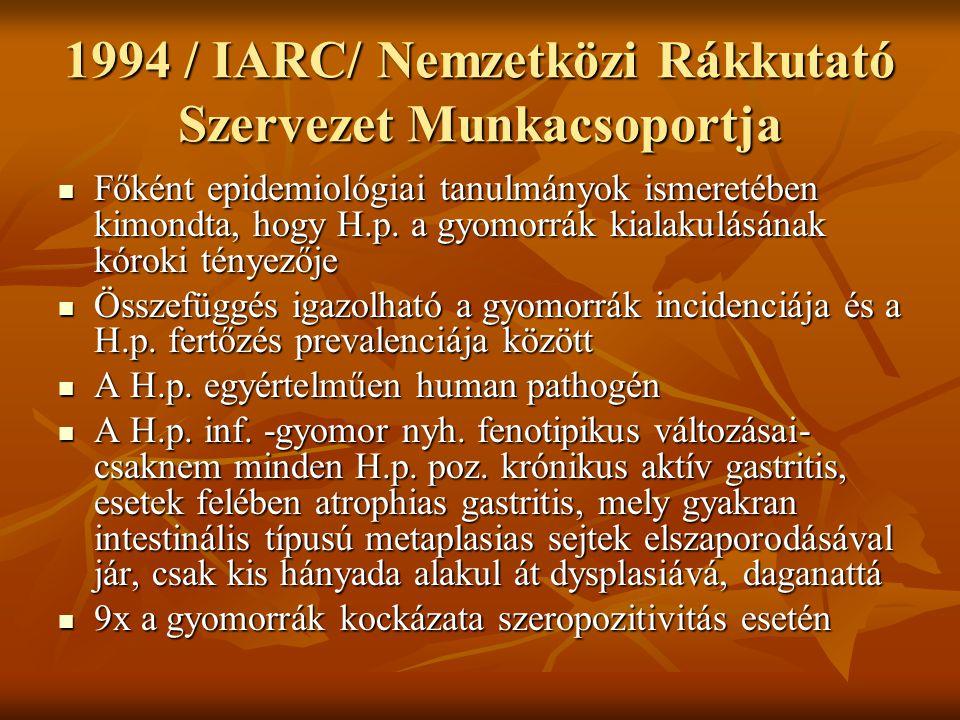 1994 / IARC/ Nemzetközi Rákkutató Szervezet Munkacsoportja Főként epidemiológiai tanulmányok ismeretében kimondta, hogy H.p. a gyomorrák kialakulásána