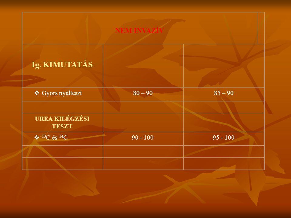 NEM INVAZÍV Ig. KIMUTATÁS  Gyors nyálteszt 80 – 9085 – 90 UREA KILÉGZÉSI TESZT  13 C és 14 C 90 - 10095 - 100