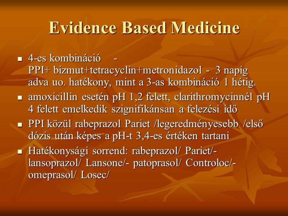 Evidence Based Medicine 4-es kombináció - PPI+ bizmut+tetracyclin+metronidazol - 3 napig adva uo. hatékony, mint a 3-as kombináció 1 hétig. 4-es kombi