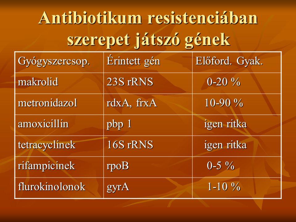 Antibiotikum resistenciában szerepet játszó gének Gyógyszercsop. Érintett gén Előford. Gyak. makrolid 23S rRNS 0-20 % 0-20 % metronidazol rdxA, frxA 1