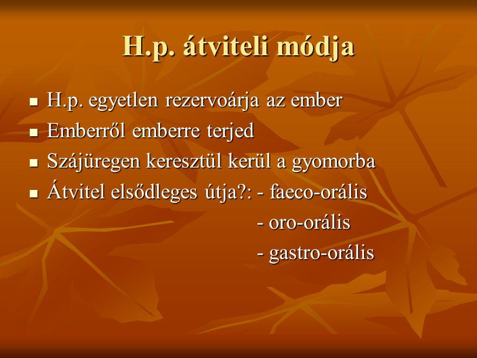 H.p. átviteli módja H.p. egyetlen rezervoárja az ember H.p. egyetlen rezervoárja az ember Emberről emberre terjed Emberről emberre terjed Szájüregen k