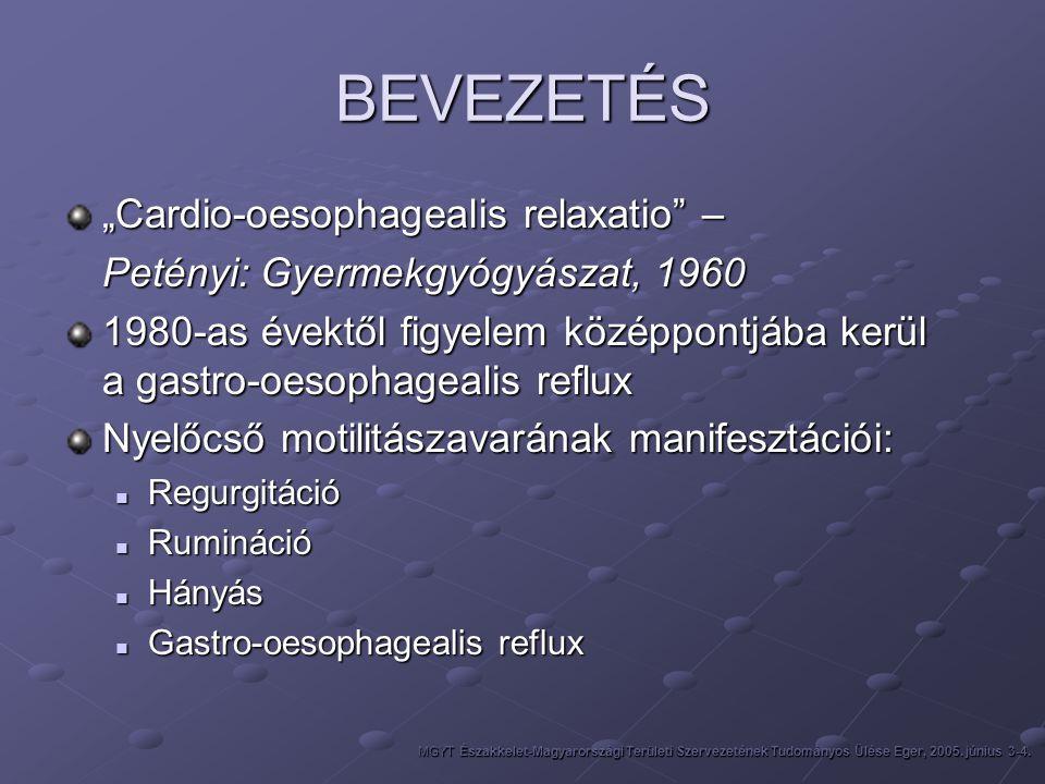 """BEVEZETÉS """"Cardio-oesophagealis relaxatio"""" – Petényi: Gyermekgyógyászat, 1960 1980-as évektől figyelem középpontjába kerül a gastro-oesophagealis refl"""
