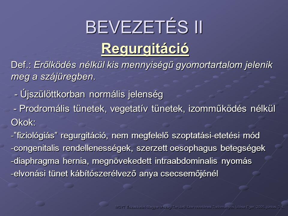 BEVEZETÉS II Regurgitáció Def.: Erőlködés nélkül kis mennyiségű gyomortartalom jelenik meg a szájüregben. - Újszülöttkorban normális jelenség - Újszül