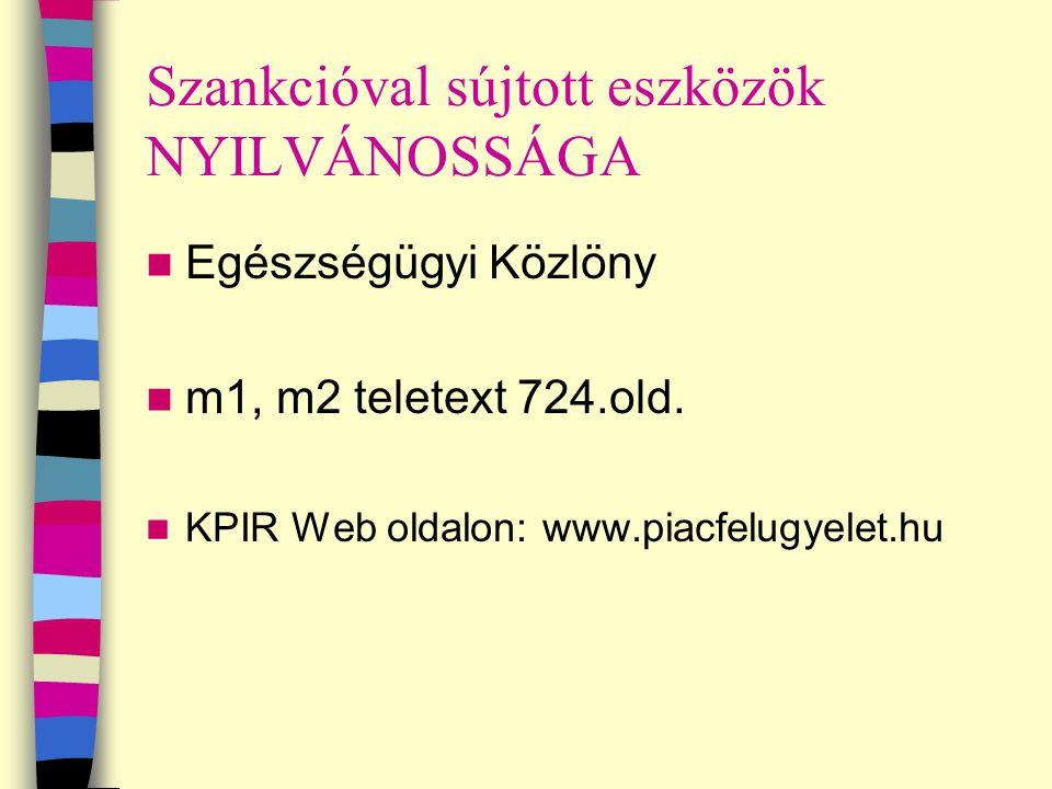 Szankcióval sújtott eszközök NYILVÁNOSSÁGA Egészségügyi Közlöny m1, m2 teletext 724.old. KPIR Web oldalon: www.piacfelugyelet.hu