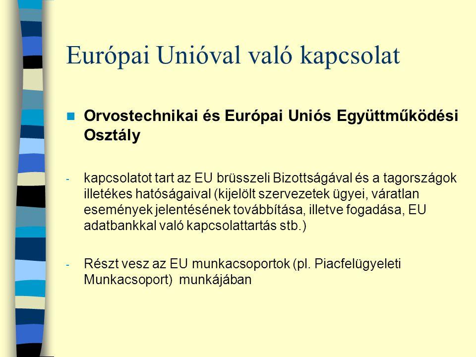 Európai Unióval való kapcsolat Orvostechnikai és Európai Uniós Együttműködési Osztály - kapcsolatot tart az EU brüsszeli Bizottságával és a tagországo