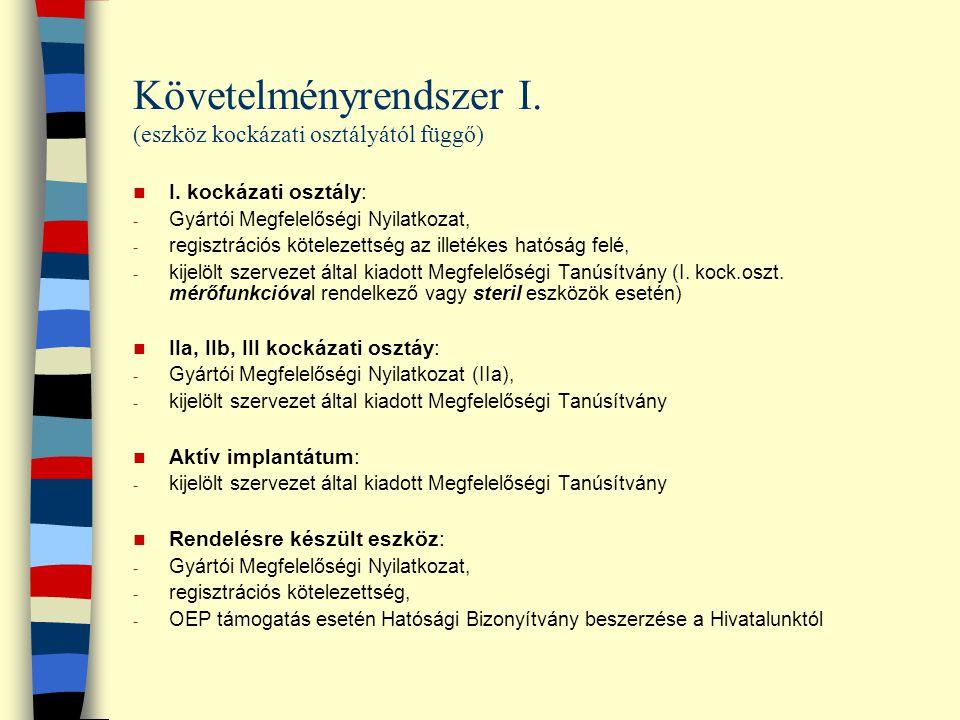 Követelményrendszer I. (eszköz kockázati osztályától függő) I. kockázati osztály: - Gyártói Megfelelőségi Nyilatkozat, - regisztrációs kötelezettség a