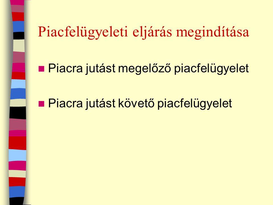 Piacfelügyeleti eljárás megindítása Piacra jutást megelőző piacfelügyelet Piacra jutást követő piacfelügyelet