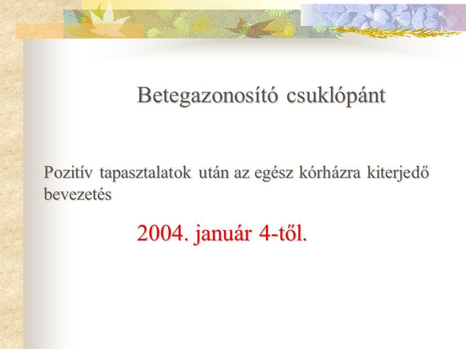 Betegazonosító csuklópánt Bevezetés 2003.