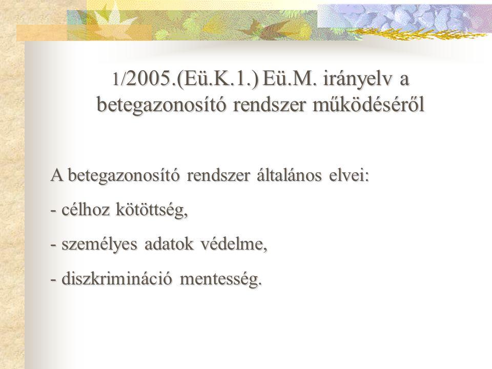 Betegazonosítás - törvényi szabályozások Betegazonosítás - törvényi szabályozások 60/2003.(X.20.) ESzCsM rendelet az egészségügyi szolgáltatások nyújt