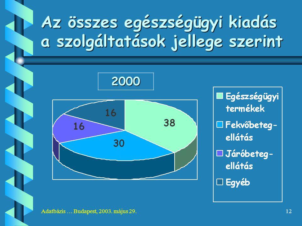 Adatbázis … Budapest, 2003. május 29.12 Az összes egészségügyi kiadás a szolgáltatások jellege szerint 2000