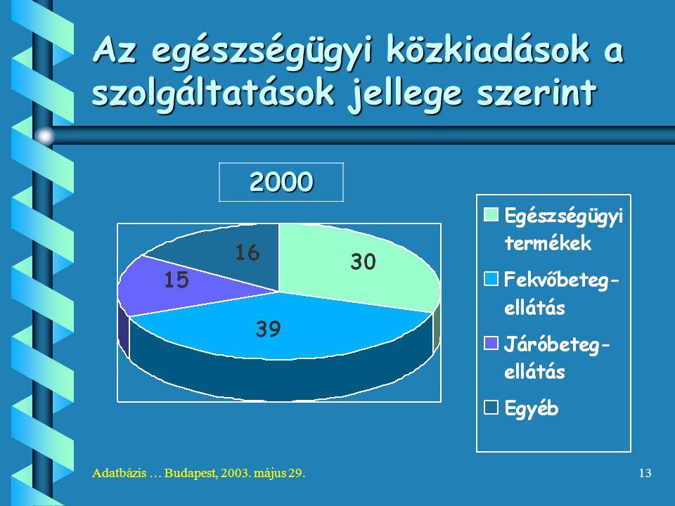 Adatbázis … Budapest, 2003. május 29.13 Az egészségügyi közkiadások a szolgáltatások jellege szerint 2000