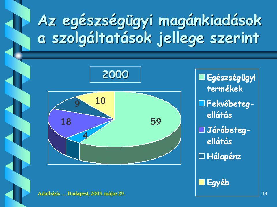 Adatbázis … Budapest, 2003. május 29.14 Az egészségügyi magánkiadások a szolgáltatások jellege szerint 2000