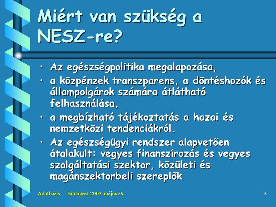 Adatbázis … Budapest, 2003. május 29.2 Miért van szükség a NESZ-re? Az egészségpolitika megalapozása,Az egészségpolitika megalapozása, a közpénzek tra