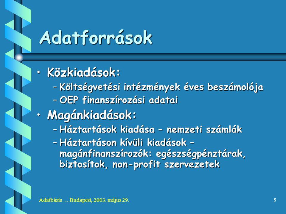 Adatbázis … Budapest, 2003. május 29.5 Adatforrások Közkiadások:Közkiadások: –Költségvetési intézmények éves beszámolója –OEP finanszírozási adatai Ma