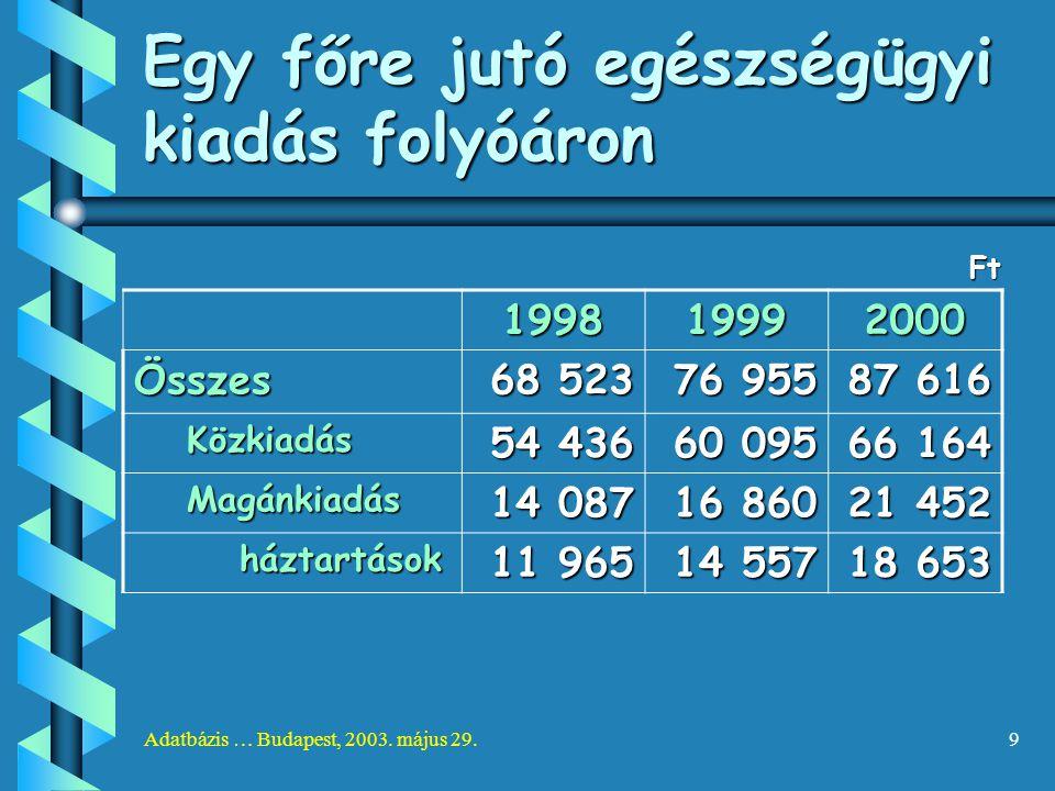 Adatbázis … Budapest, 2003. május 29.9 Egy főre jutó egészségügyi kiadás folyóáron Ft 199819992000 Összes 68 523 76 955 87 616 Közkiadás 54 436 60 095