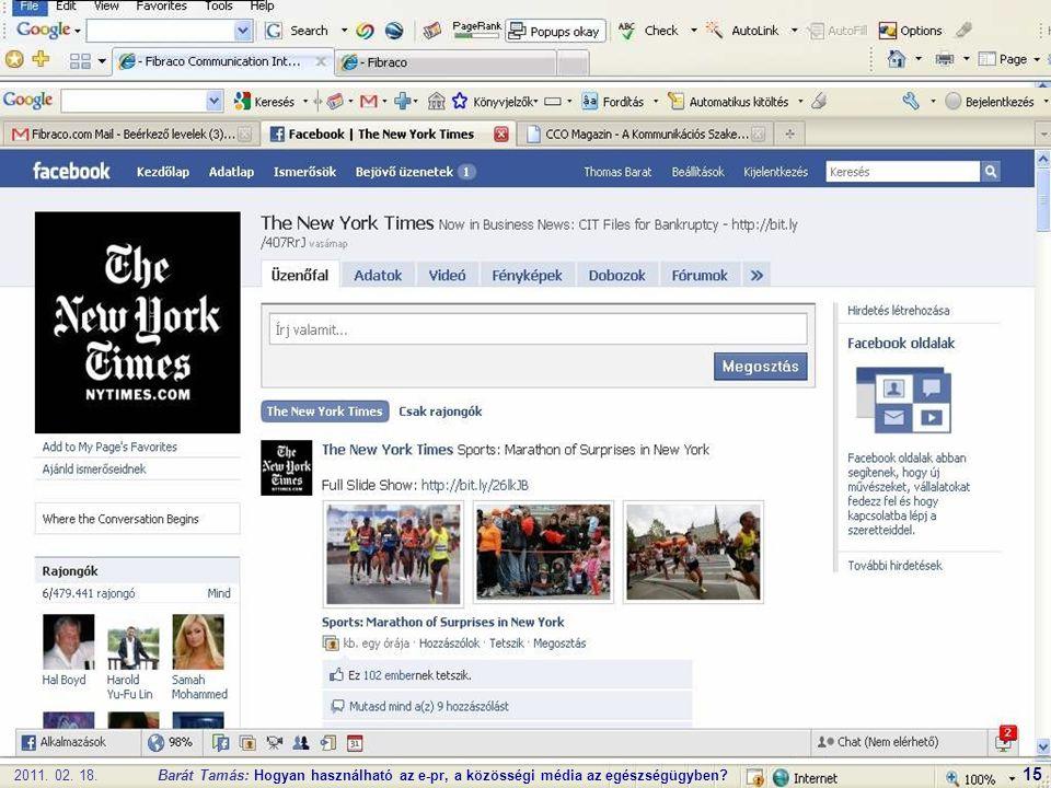 2011. 02. 18.Barát Tamás: Hogyan használható az e-pr, a közösségi média az egészségügyben 15