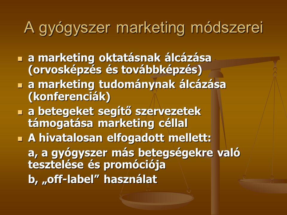 A gyógyszer marketing módszerei a marketing oktatásnak álcázása (orvosképzés és továbbképzés) a marketing oktatásnak álcázása (orvosképzés és továbbké