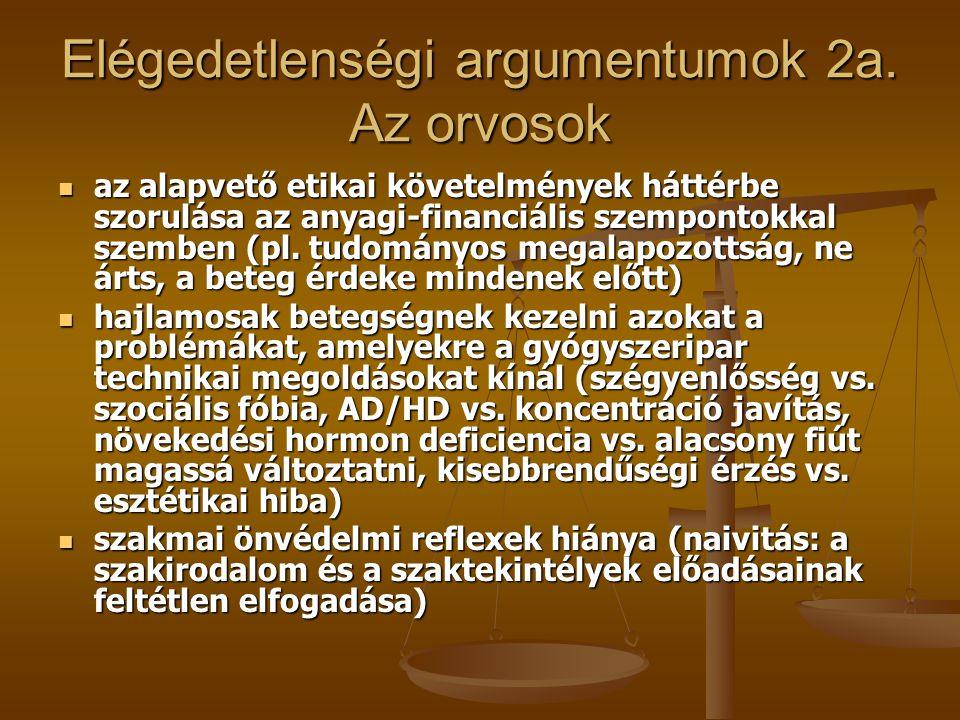 Elégedetlenségi argumentumok 2a. Az orvosok az alapvető etikai követelmények háttérbe szorulása az anyagi-financiális szempontokkal szemben (pl. tudom