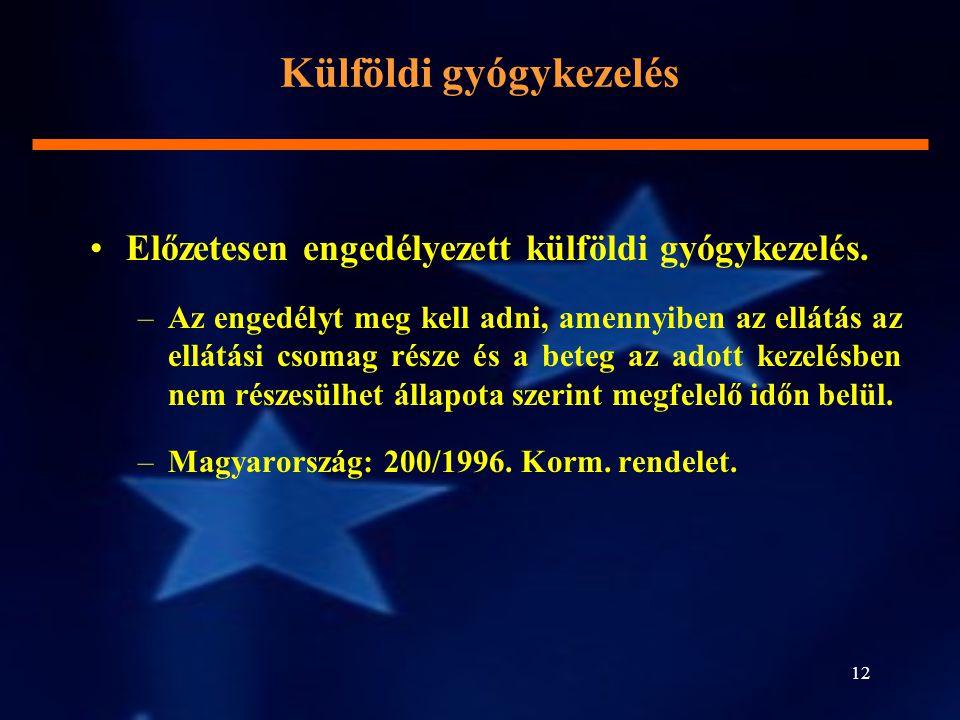 12 Előzetesen engedélyezett külföldi gyógykezelés. –Az engedélyt meg kell adni, amennyiben az ellátás az ellátási csomag része és a beteg az adott kez