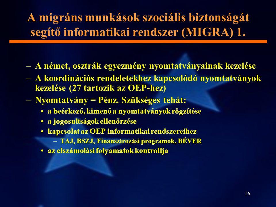 16 A migráns munkások szociális biztonságát segítő informatikai rendszer (MIGRA) 1. –A német, osztrák egyezmény nyomtatványainak kezelése –A koordinác