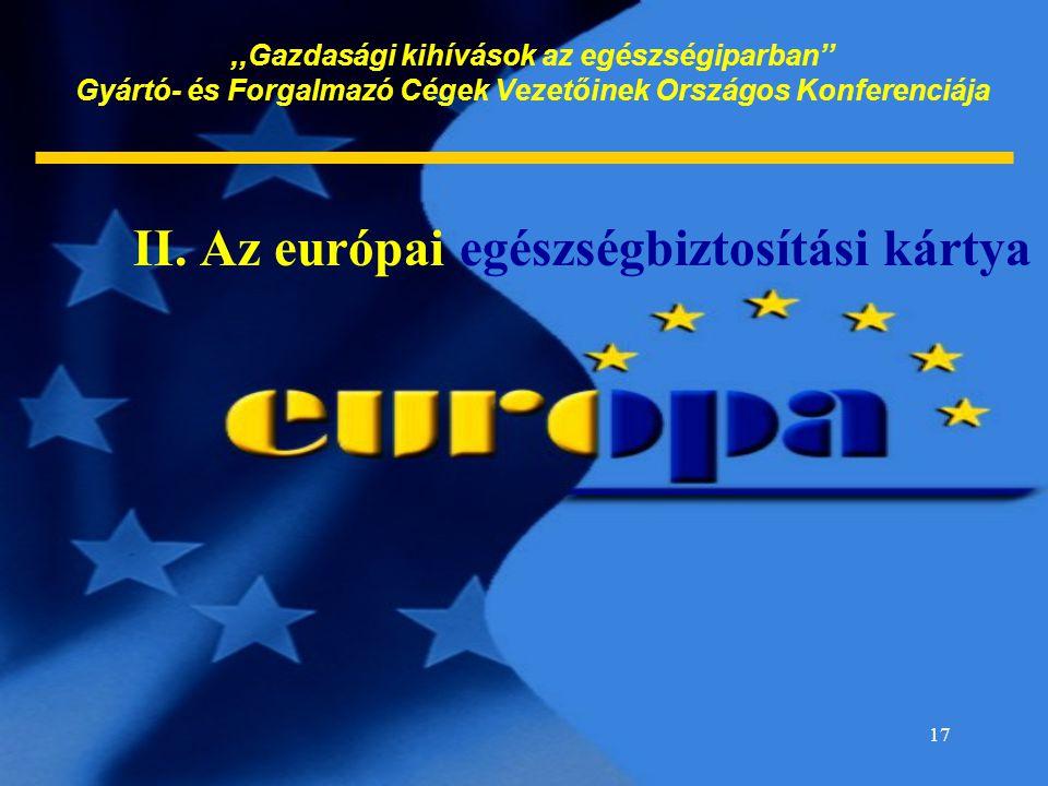 17,,Gazdasági kihívások az egészségiparban'' Gyártó- és Forgalmazó Cégek Vezetőinek Országos Konferenciája II. Az európai egészségbiztosítási kártya