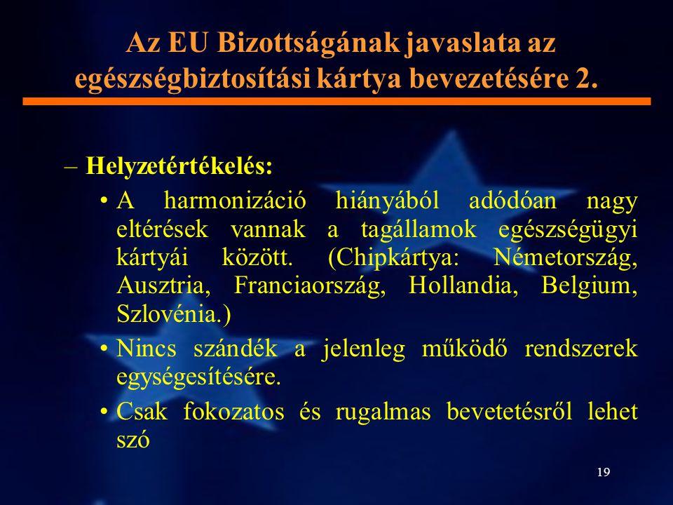 19 Az EU Bizottságának javaslata az egészségbiztosítási kártya bevezetésére 2. –Helyzetértékelés: A harmonizáció hiányából adódóan nagy eltérések vann
