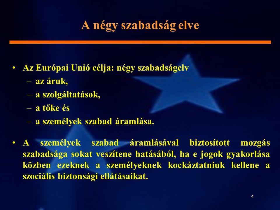 4 A négy szabadság elve Az Európai Unió célja: négy szabadságelv –az áruk, –a szolgáltatások, –a tőke és –a személyek szabad áramlása. A személyek sza