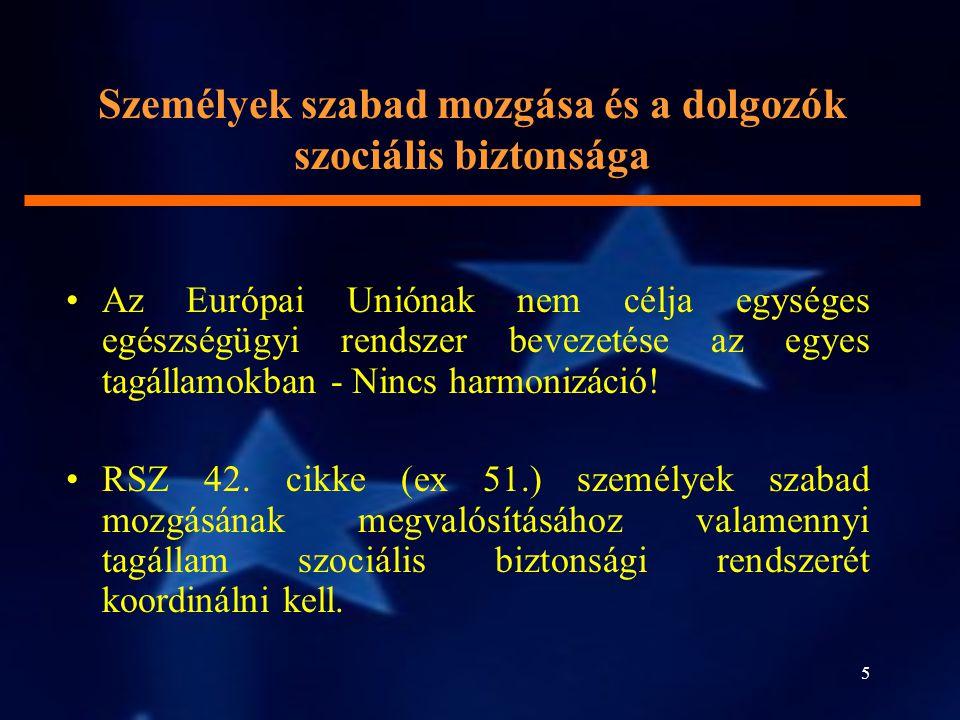 5 Személyek szabad mozgása és a dolgozók szociális biztonsága Az Európai Uniónak nem célja egységes egészségügyi rendszer bevezetése az egyes tagállam
