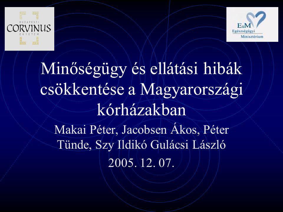 Minőségügy és ellátási hibák csökkentése a Magyarországi kórházakban Makai Péter, Jacobsen Ákos, Péter Tünde, Szy Ildikó Gulácsi László 2005.