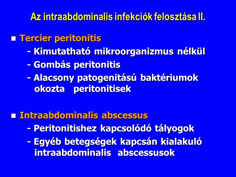 Az intraabdominalis infekciók felosztása II. Tercier peritonitis Tercier peritonitis - Kimutatható mikroorganizmus nélkül - Kimutatható mikroorganizmu