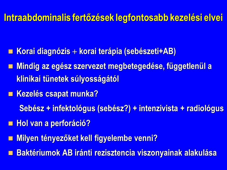 Intraabdominalis fertőzések legfontosabb kezelési elvei Korai diagnózis  korai terápia (sebészeti+AB) Korai diagnózis  korai terápia (sebészeti+AB)