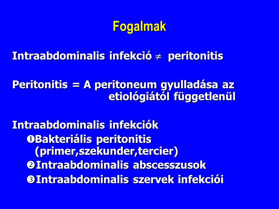 Fogalmak Intraabdominalis infekció  peritonitis Peritonitis = A peritoneum gyulladása az etiológiától függetlenül Intraabdominalis infekciók  Bakter