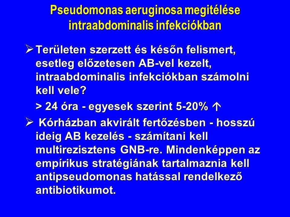 Pseudomonas aeruginosa megitélése intraabdominalis infekciókban  Területen szerzett és későn felismert, esetleg előzetesen AB-vel kezelt, intraabdominalis infekciókban számolni kell vele.