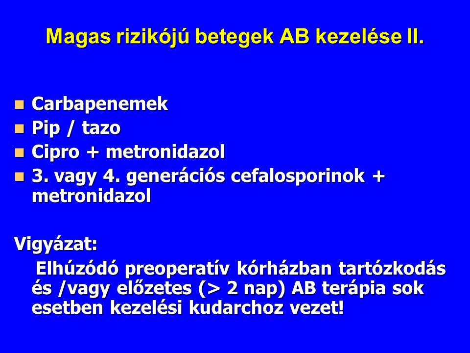 Magas rizikójú betegek AB kezelése II. Carbapenemek Carbapenemek Pip / tazo Pip / tazo Cipro + metronidazol Cipro + metronidazol 3. vagy 4. generációs