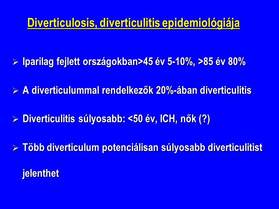 Diverticulosis, diverticulitis epidemiológiája  Iparilag fejlett országokban>45 év 5-10%, >85 év 80%  A diverticulummal rendelkezők 20%-ában diverticulitis  Diverticulitis súlyosabb: <50 év, ICH, nők (?)  Több diverticulum potenciálisan súlyosabb diverticulitist jelenthet
